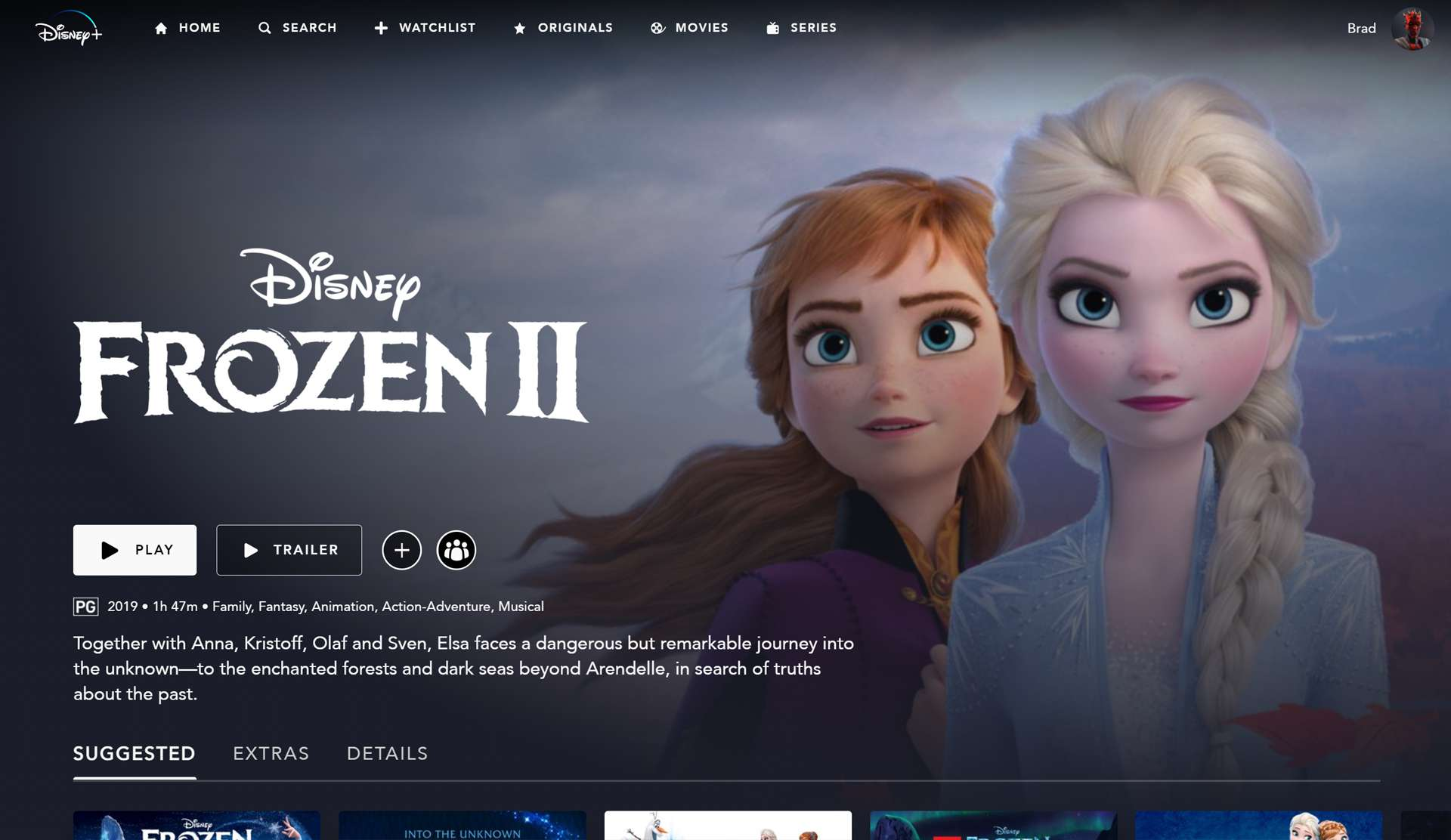 Frozen, Frozen II, and other family movies on Disney Plus.