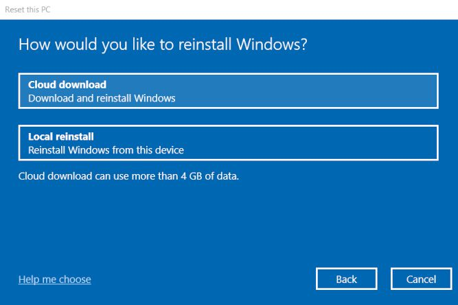Choose how to reinstall Windows when you reset an Asus Laptop.