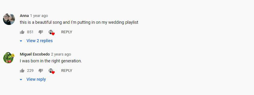 A screenshot of YouTube comments with hearts.