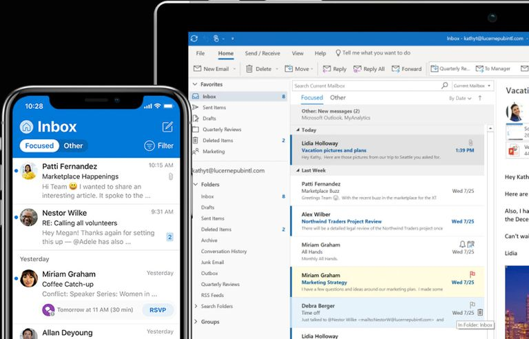 Microsoft Outlook main screens on mobile and computer