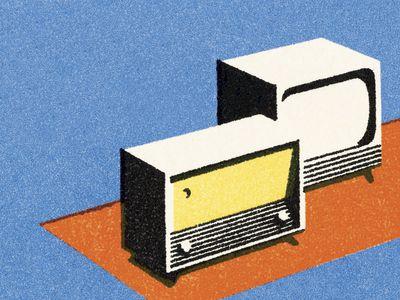 Vintage TV and radio illustration