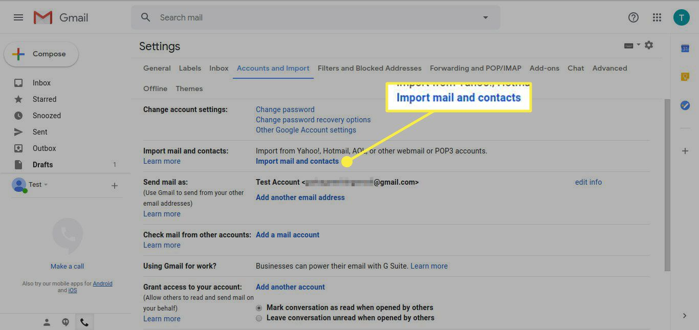 Screenshot of Gmail Accounts and Import settings with the