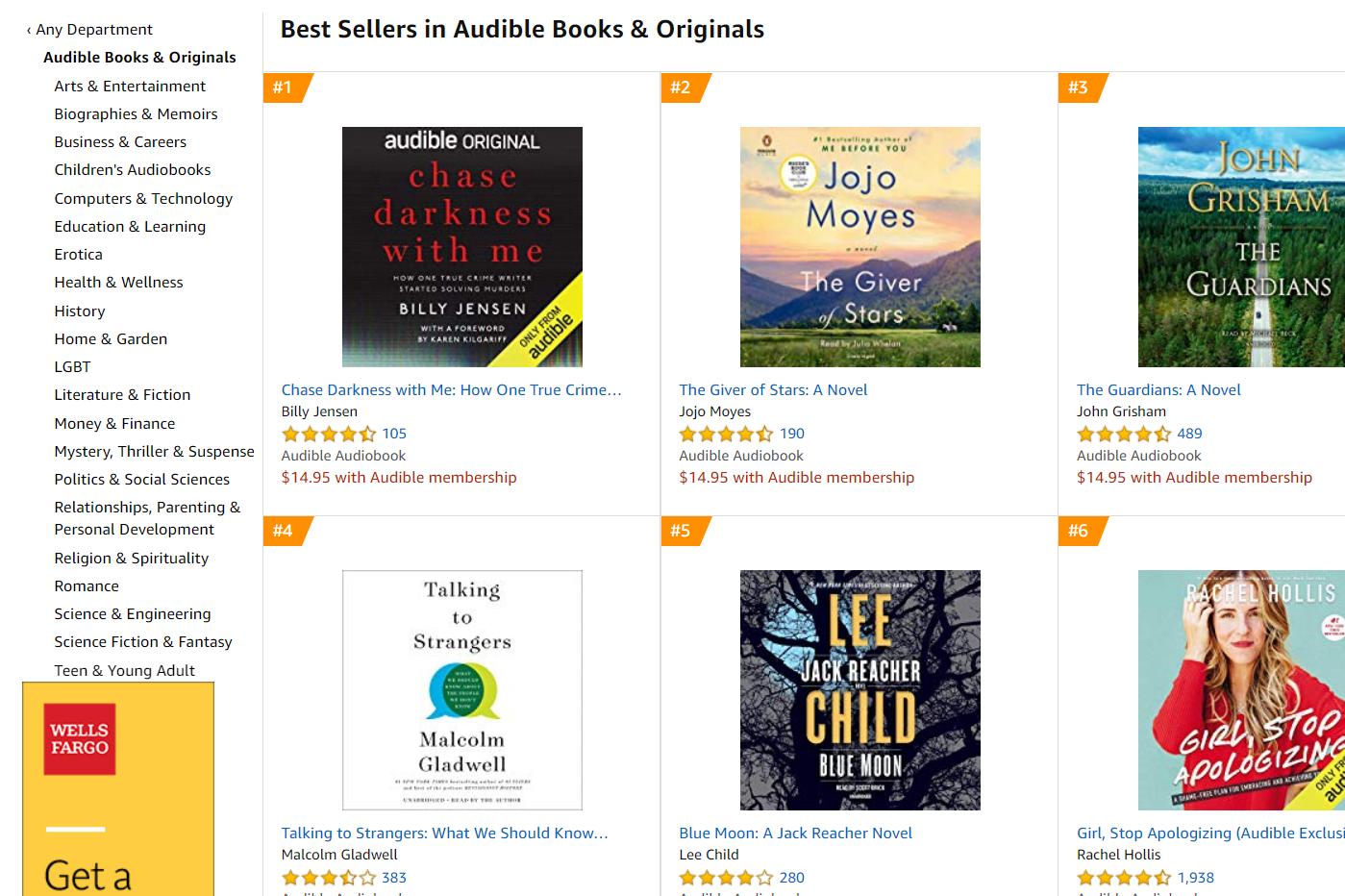 Best selling Audible audiobooks