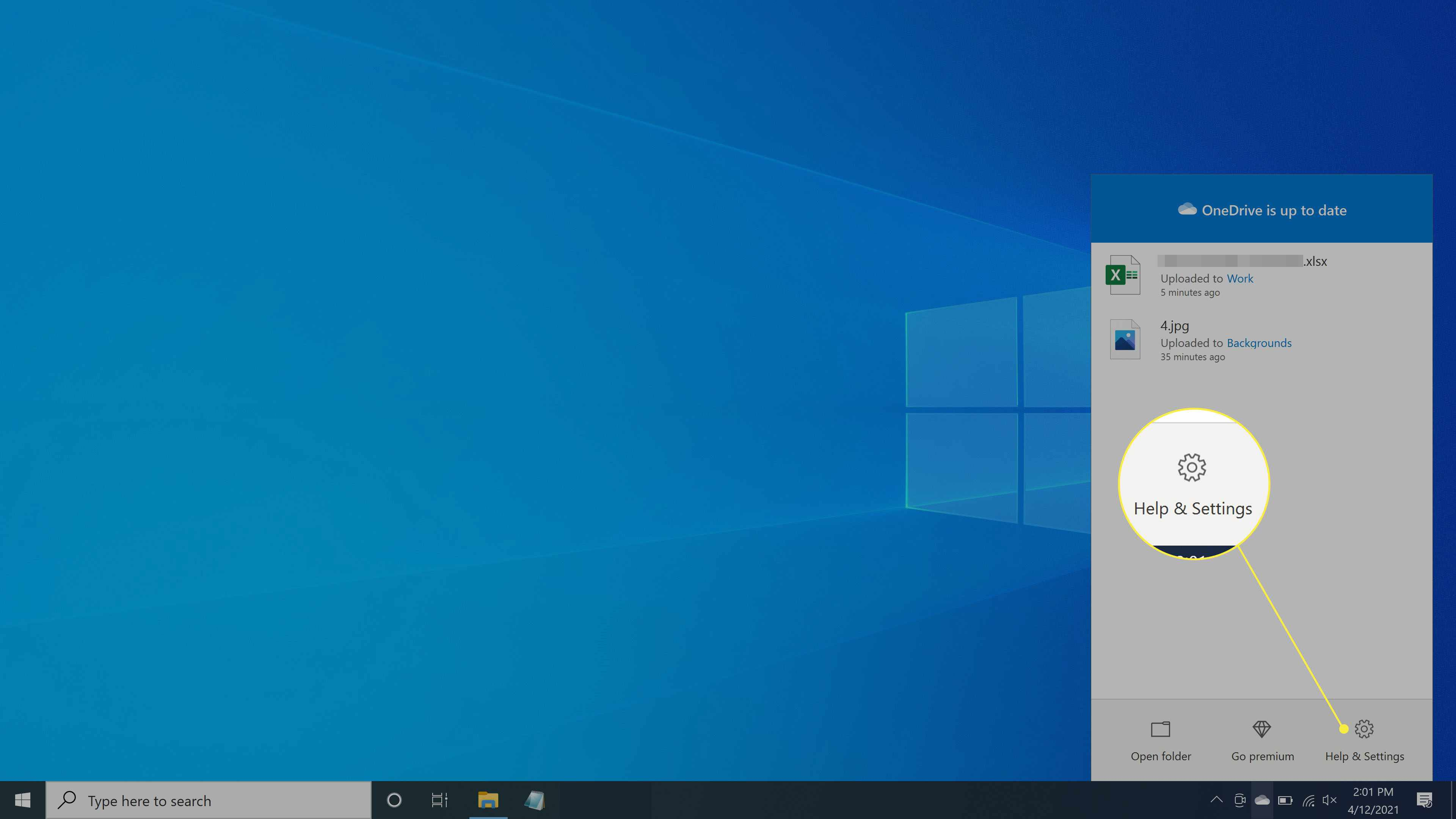 The Help and Settings option under OneDrive on Windows 10
