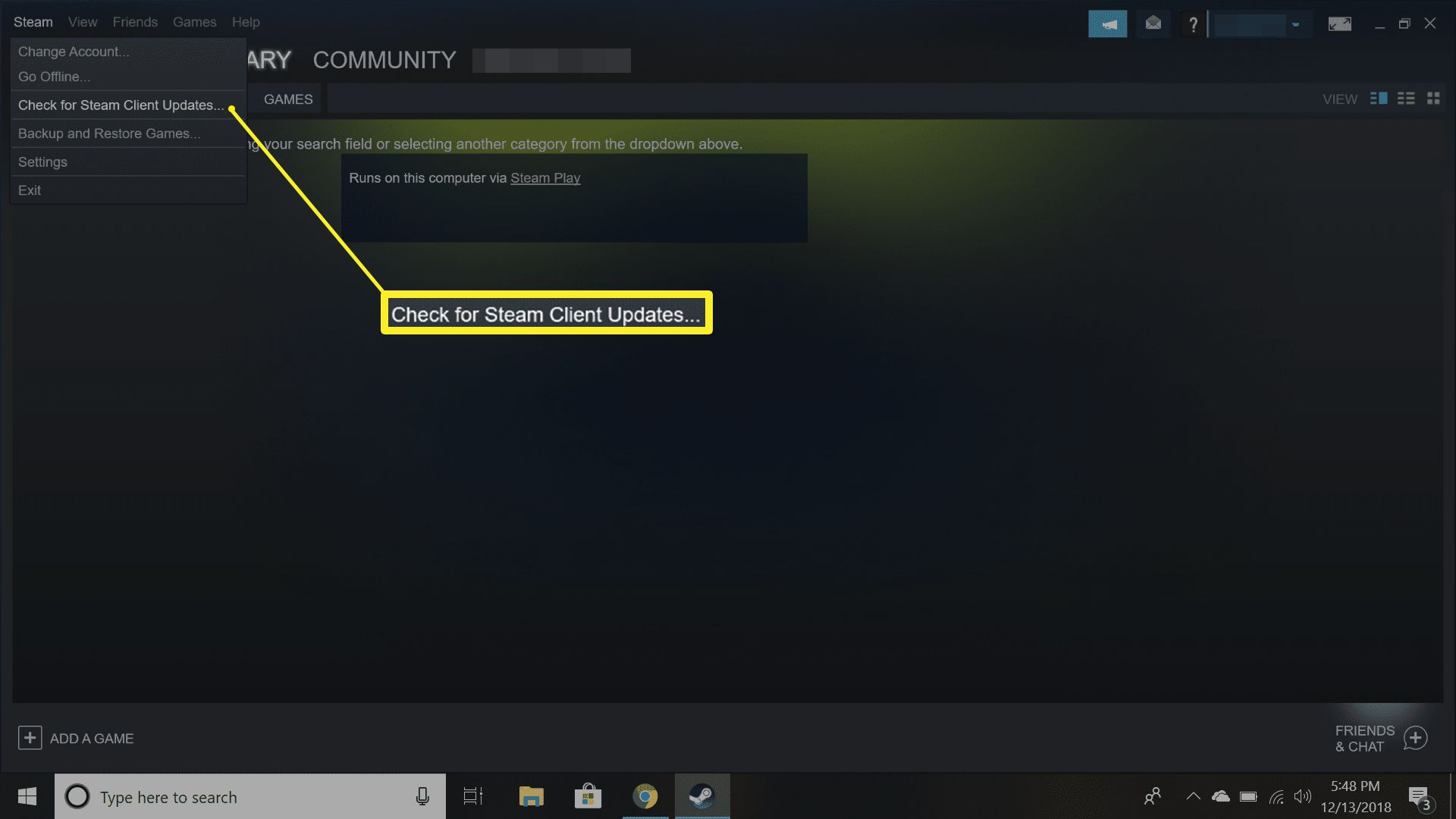 Check for Steam updates