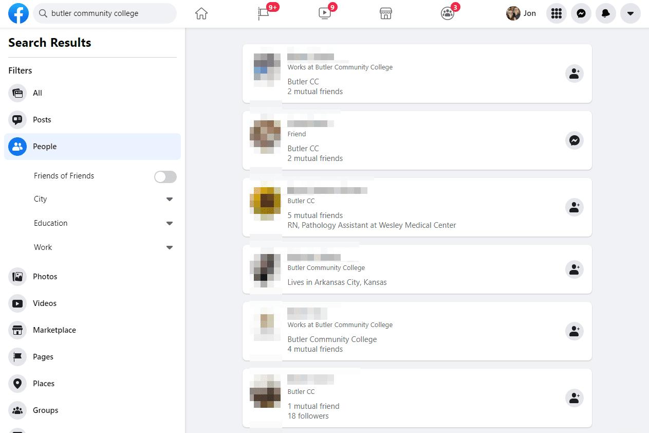 Facebook search by school