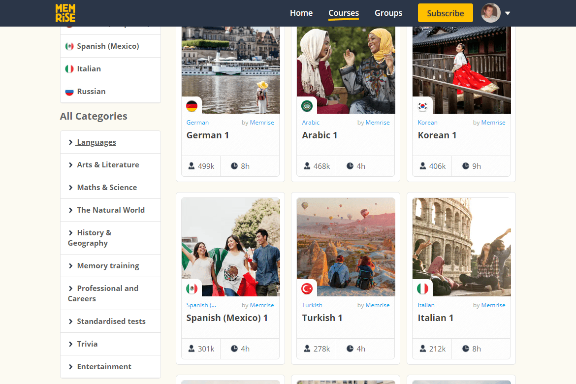 Categories and lessons for English speakers at Memrise