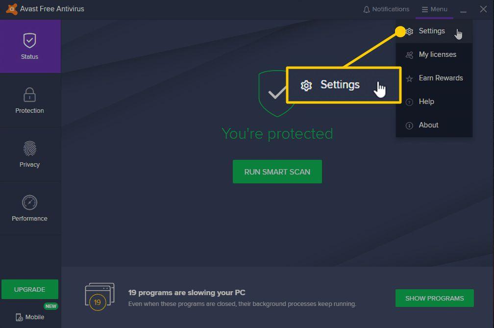 Screenshot of selecting Settings option in Avast.