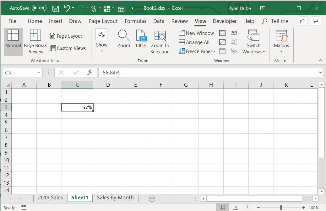 Screenshot of applying percentage formatting in Excel
