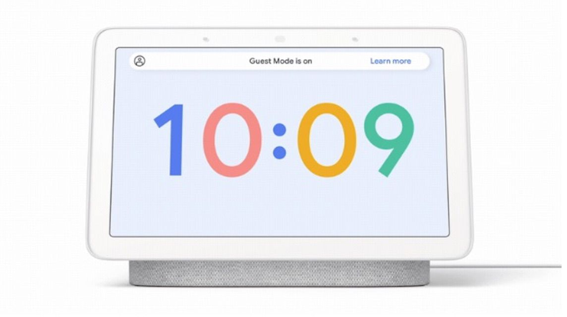 Guest Mode on an illustrated Google Assistant display