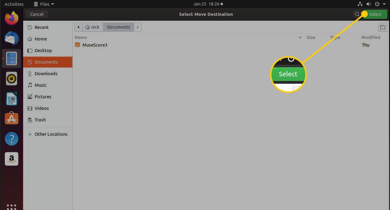 Select button in Move Destination window in Nautilus
