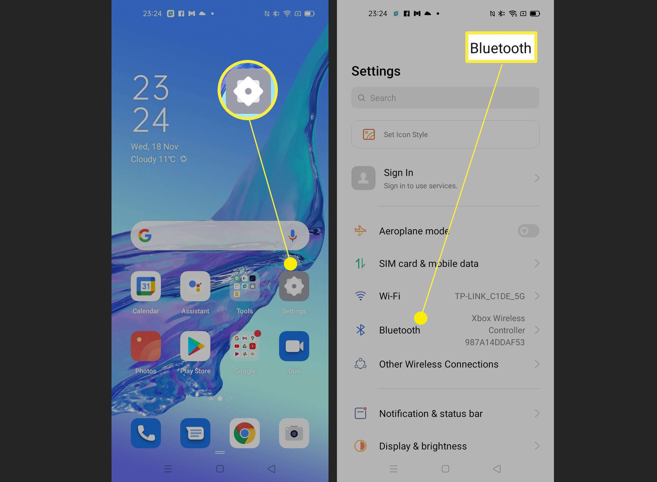 Steps on an Android phone for finding Bluetooth settings
