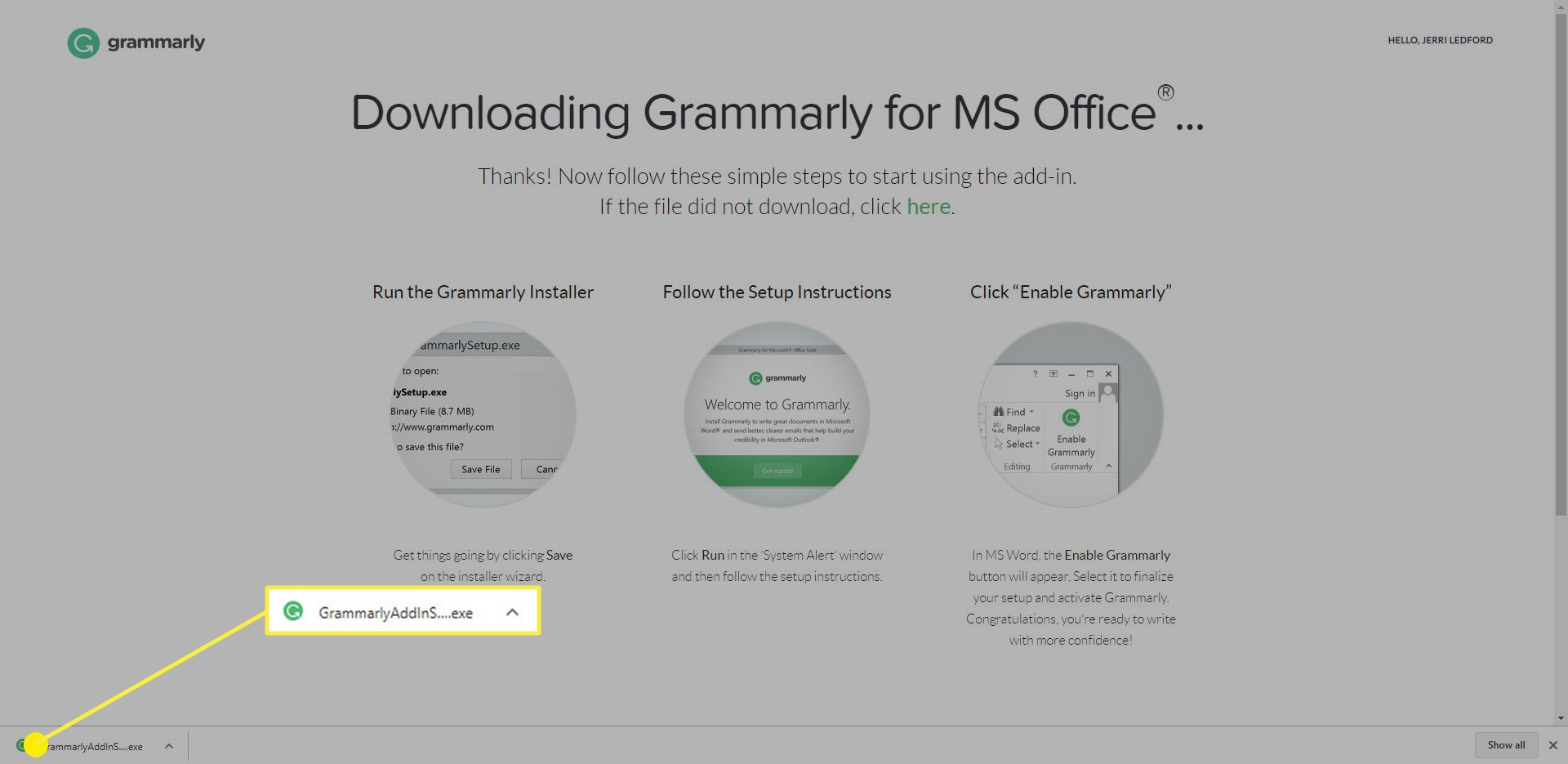 The downloaded Grammarly executable file.