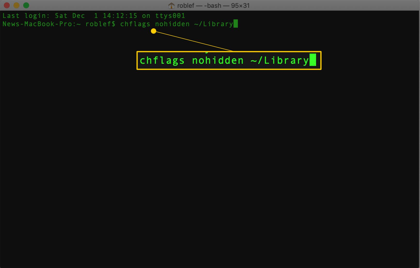 chflags nohidden ~/Library command in macOS Terminal app
