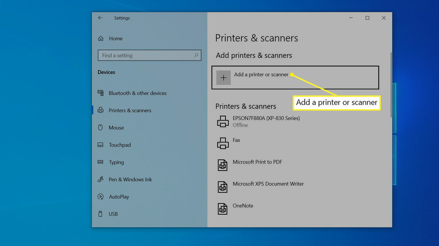 Printer & scanners screen with Add a printer or scanner highlighted