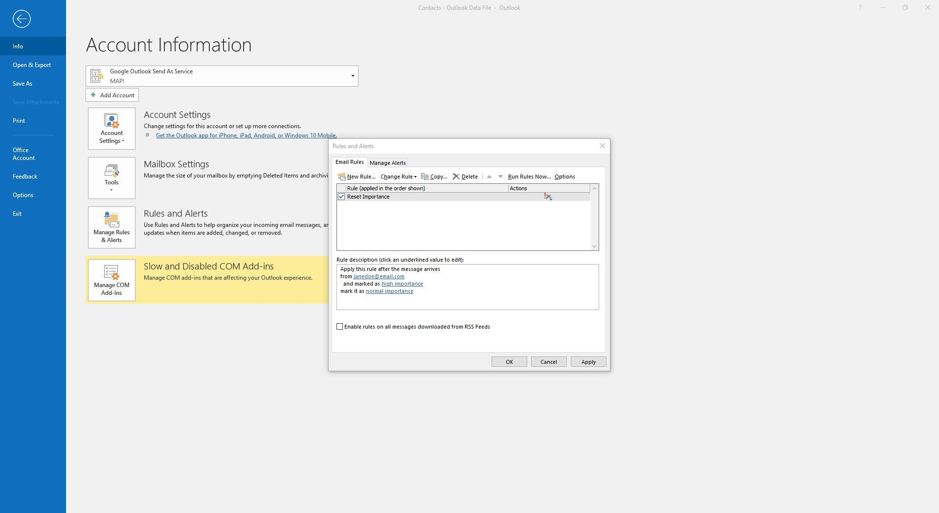 Viewing the newly created importance rule within Rules and Alerts in Outlook.