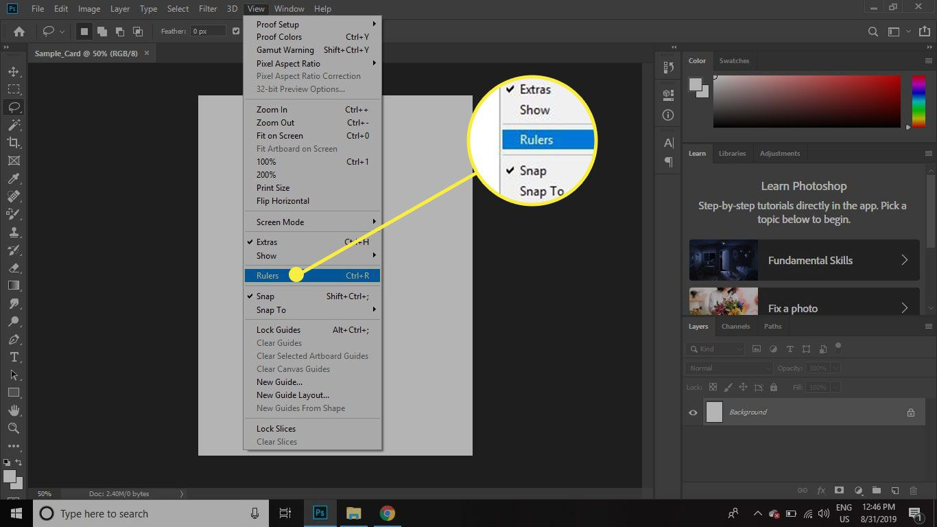A screenshot of Photoshop with the View>Rulers command highlighted