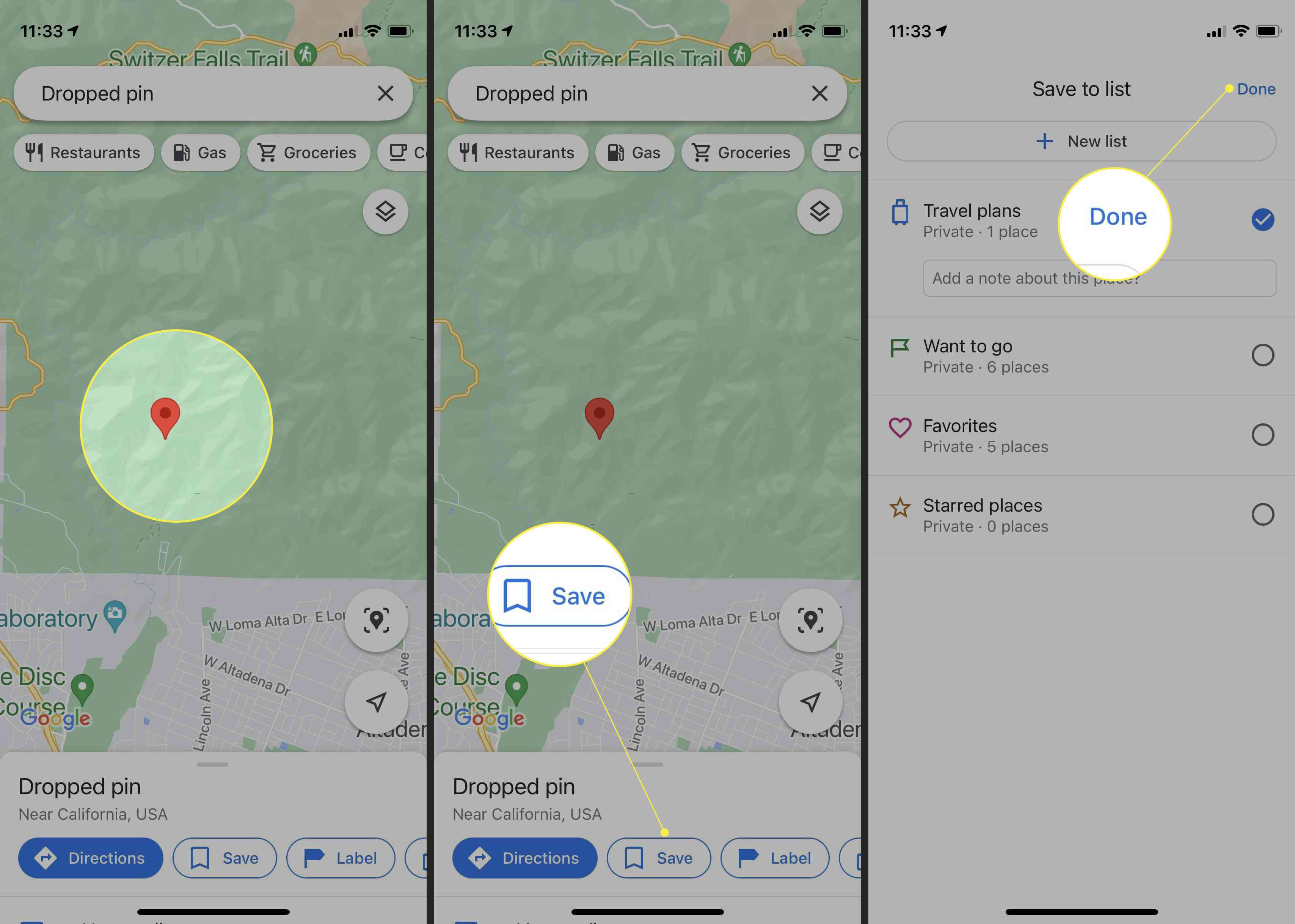 Adding a label to pinned location on Google Maps for desktop with the pin, Save, and Done highlighted