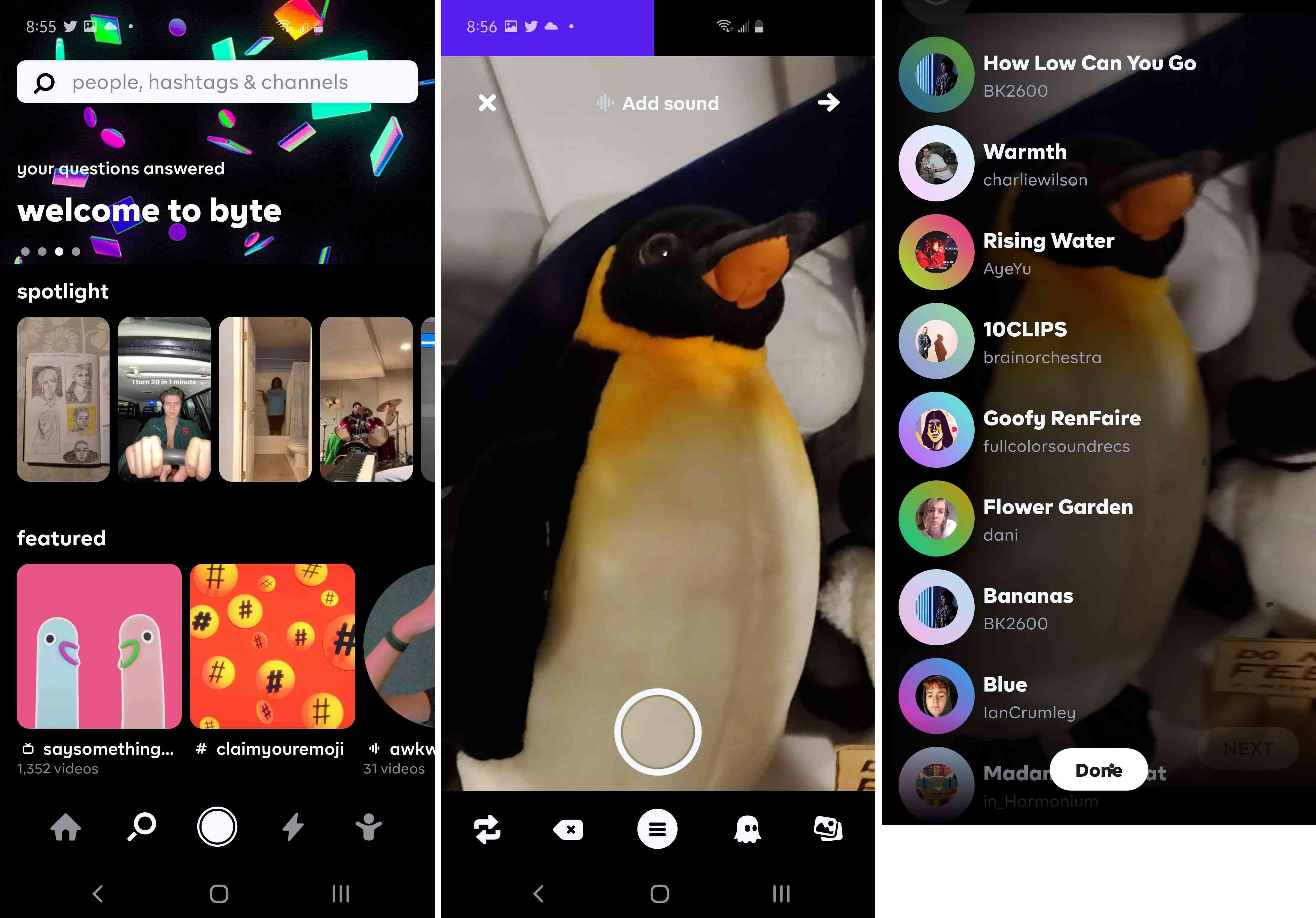 Three views of the Byte app