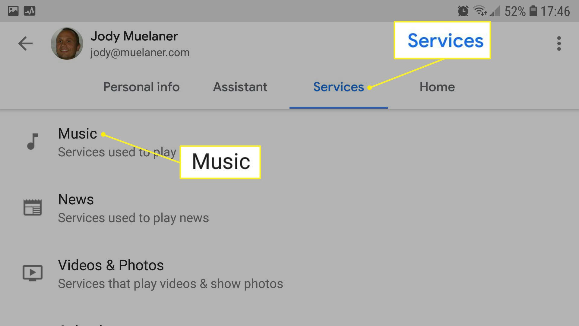 Goggle Assistant settings with Services and Music highlighted