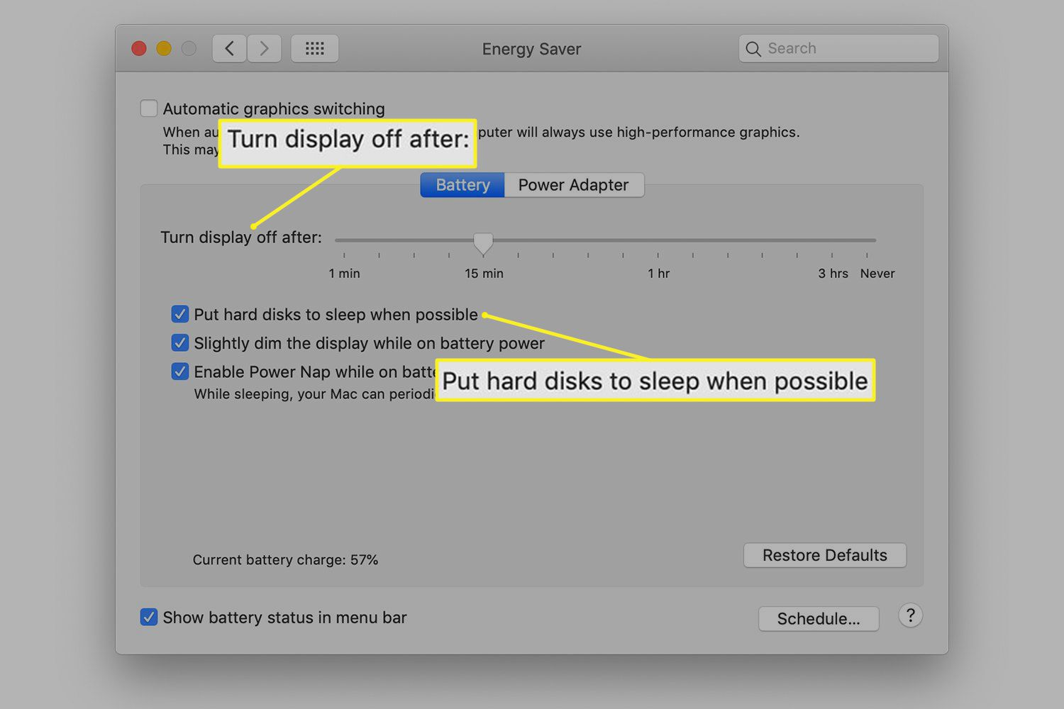 Energy Saver options in Mac System Preferences