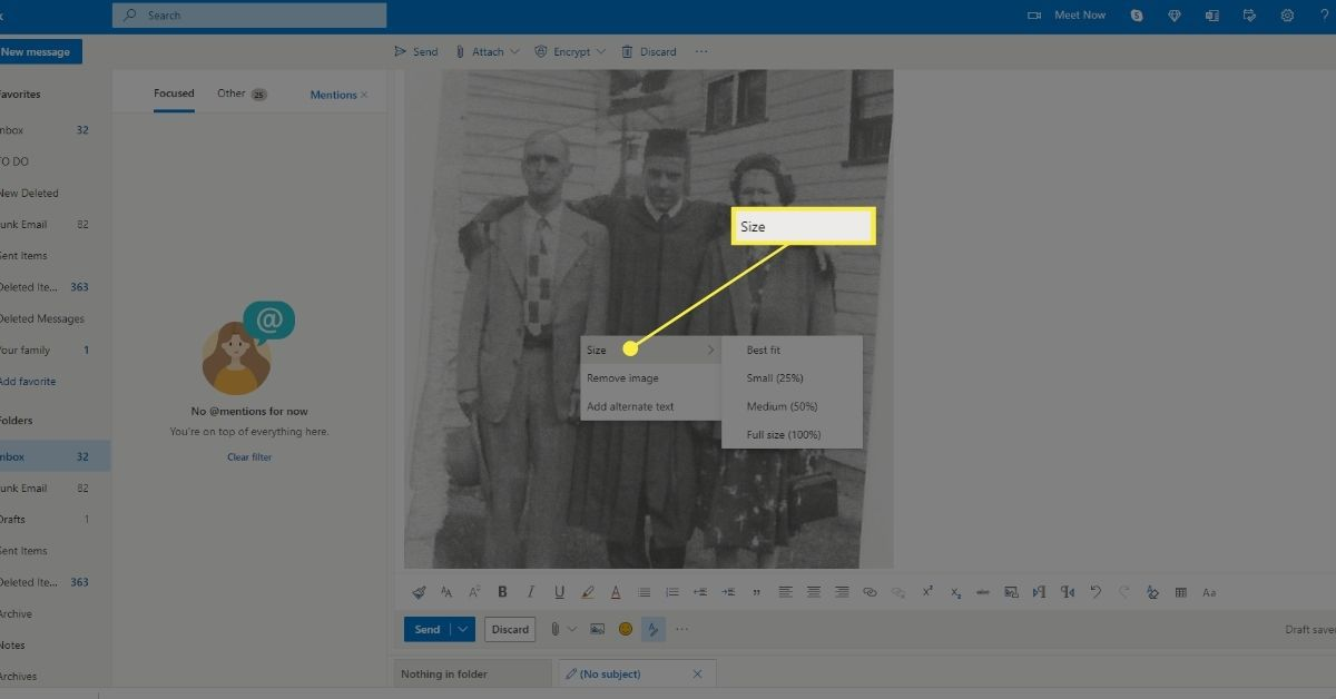 Resize inline image on Outlook.com.