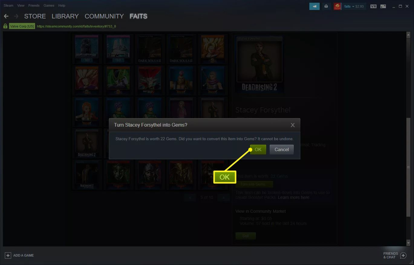 Steam gem conversion screen with OK selected