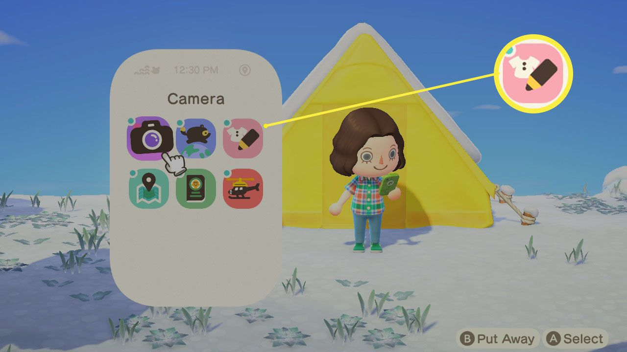 Animal Crossing: New Horizons with Custom Designs highlighted on Nook Phone