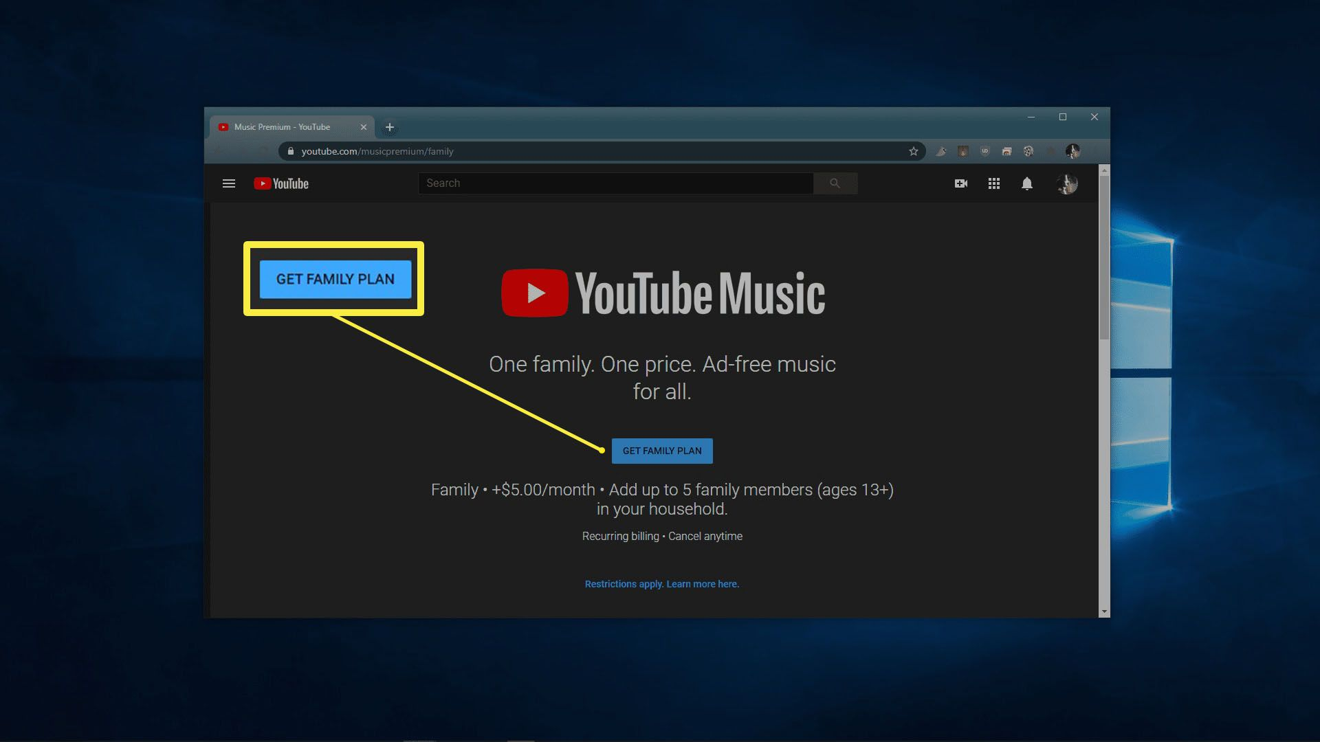 The main page of the YouTube Music Family upgrade site.