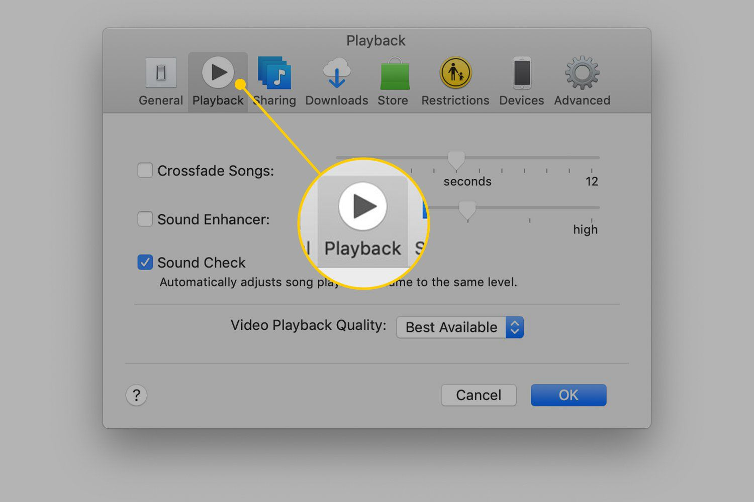 Playback heading in iTunes preferences