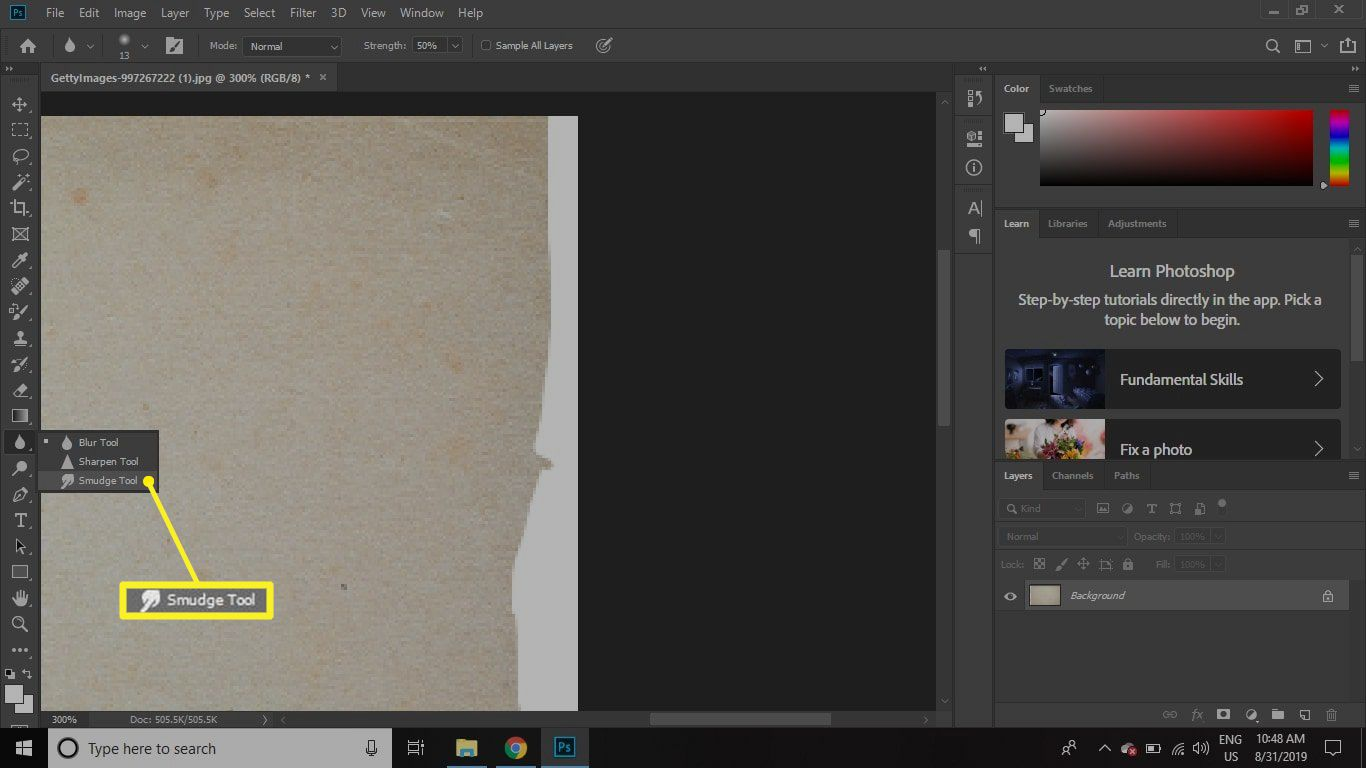 The Smudge Tool in the Photoshop toolbar