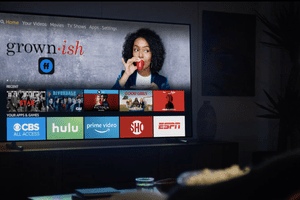 Person watching Amazon Fire TV in their home