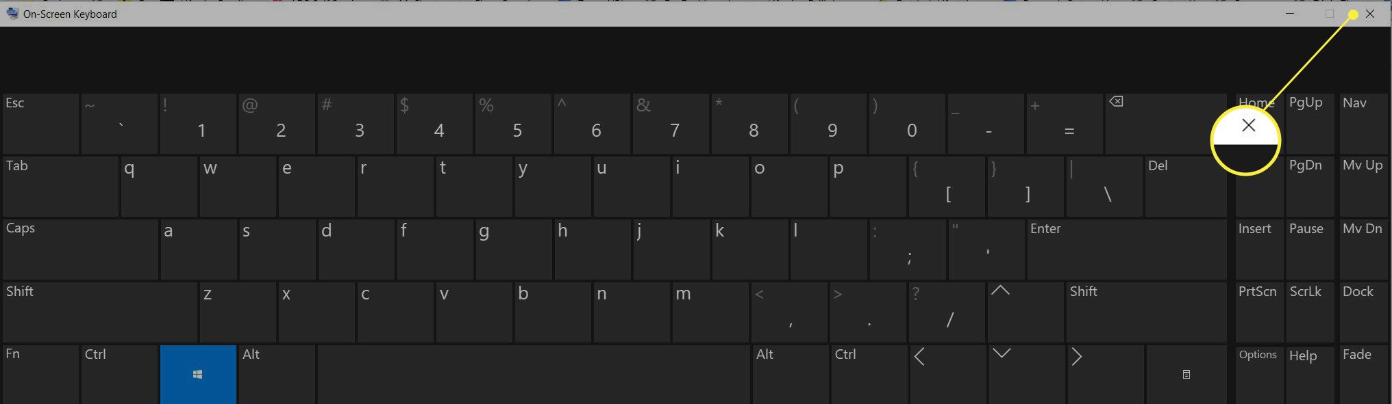 On-screen keyboard with the close (X) highlighted