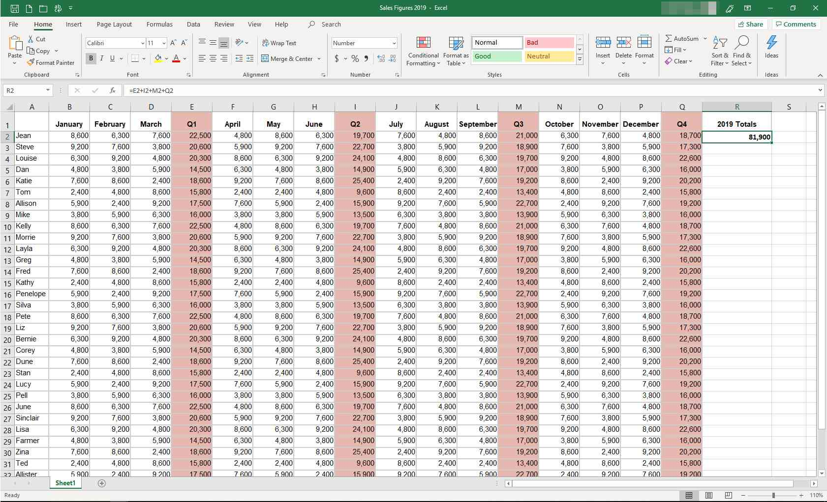 MS Excel with new formula displayed
