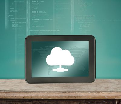 A picture of a cloud on a tablet computer