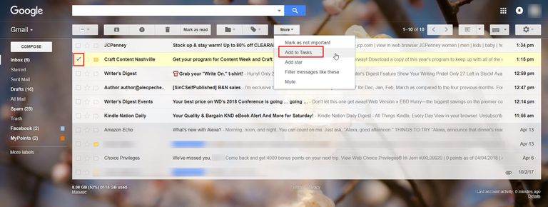 "Screenshot of Gmail with an email selected and the More menu expanded to show ""Add to Tasks."""
