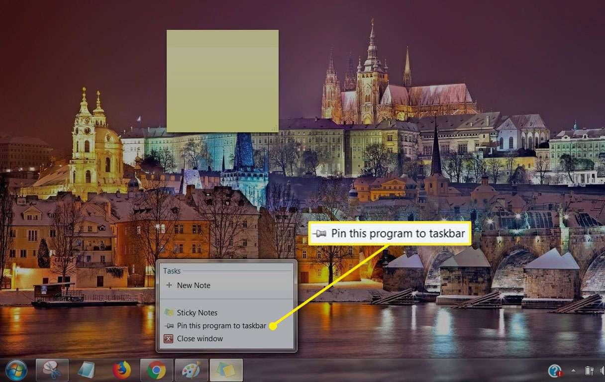 Screenshot of Pin this program to taskbar