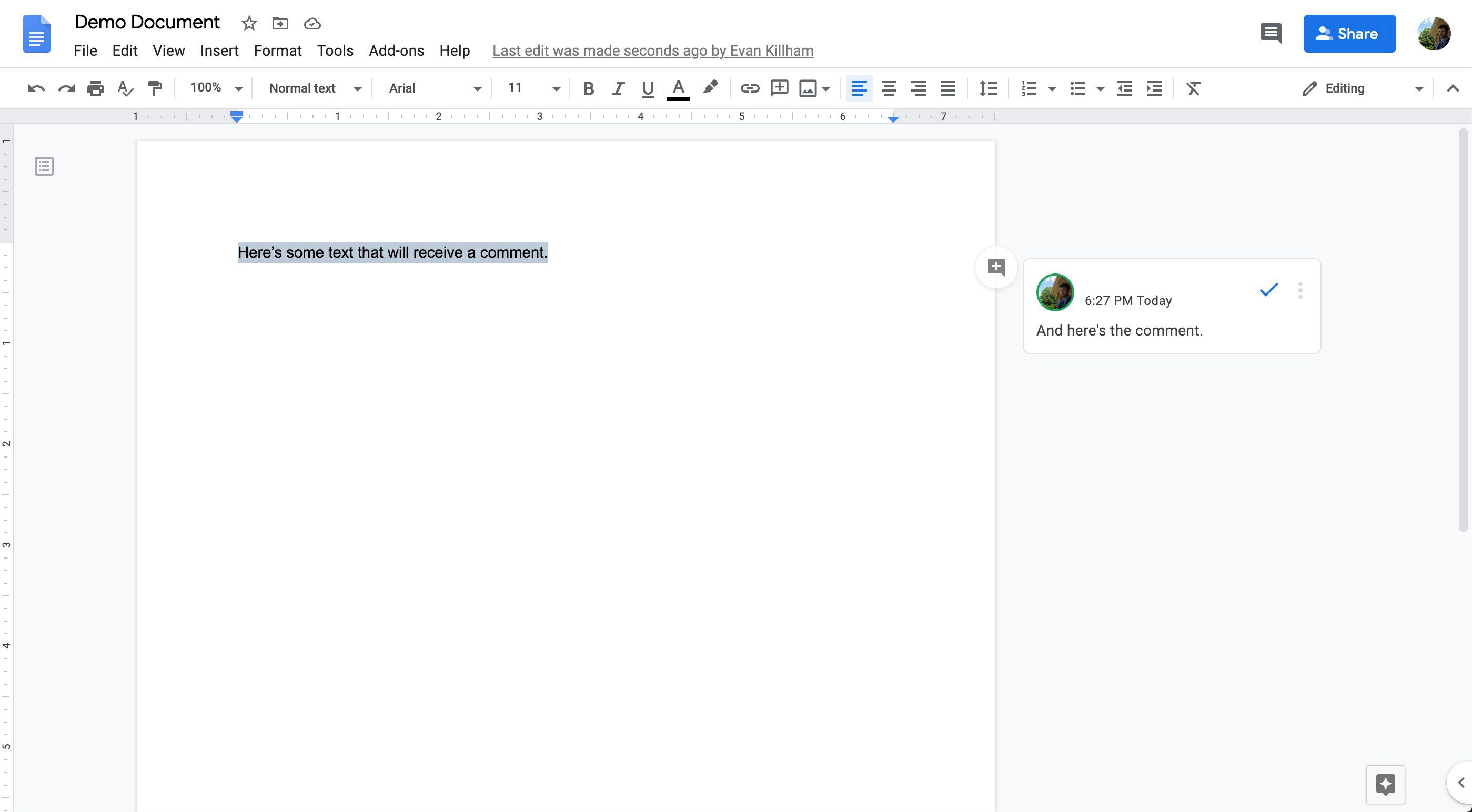A comment in Google Docs