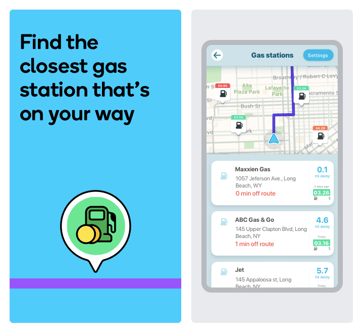 Waze showing multiple nearby gas stations