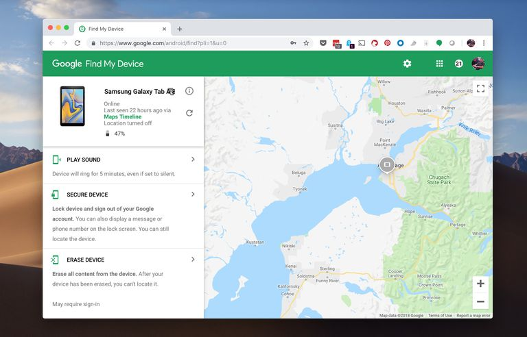 Find my Android Device website on macOS desktop