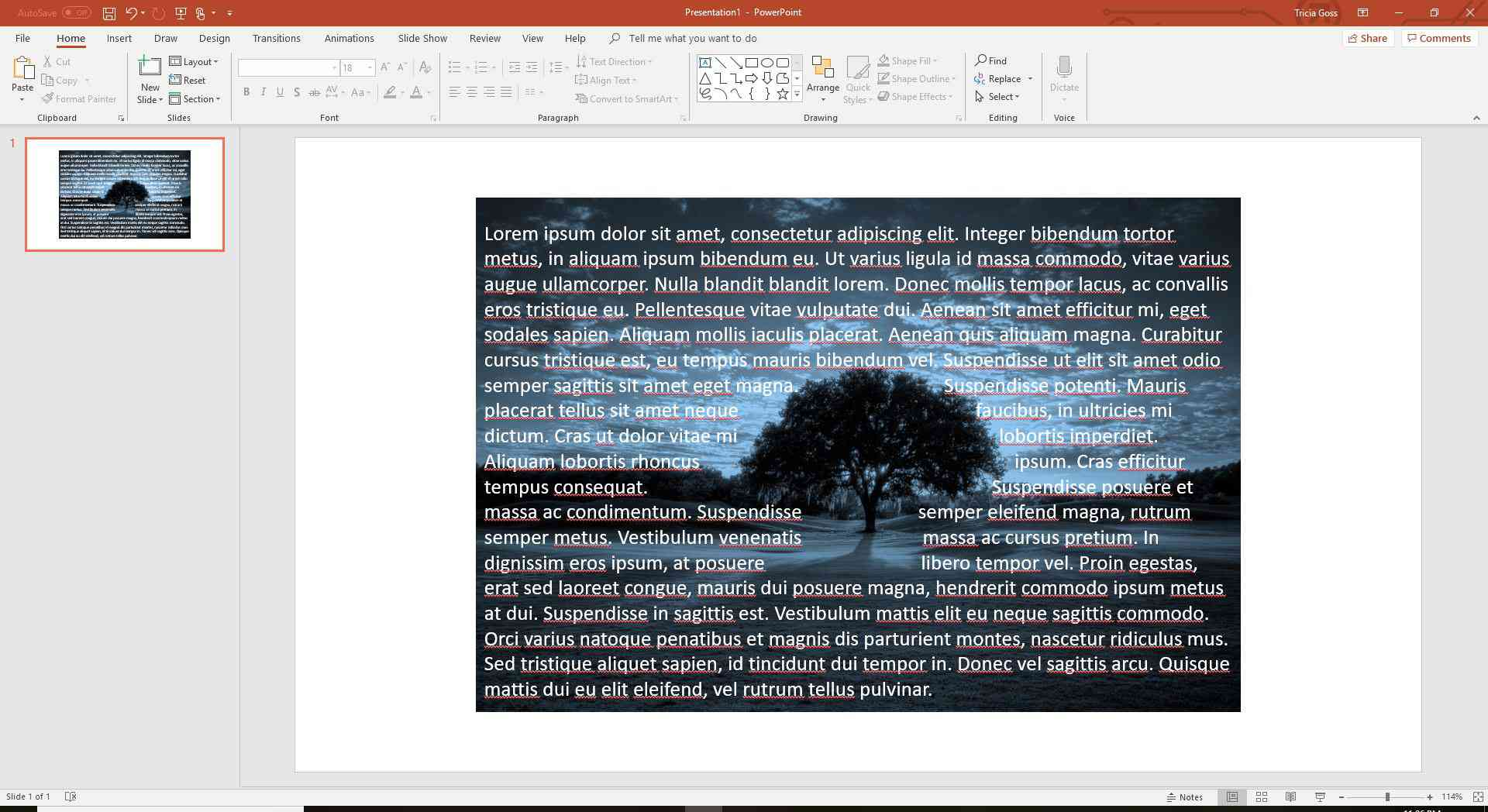 Use the space bar to wrap text in PowerPoint