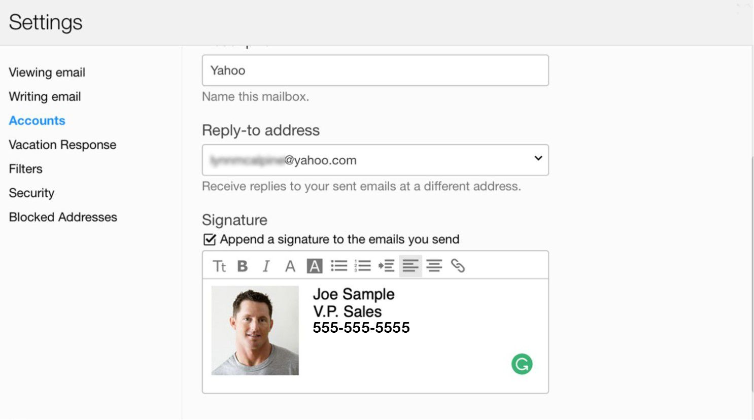 How to add a picture to Yahoo email signature