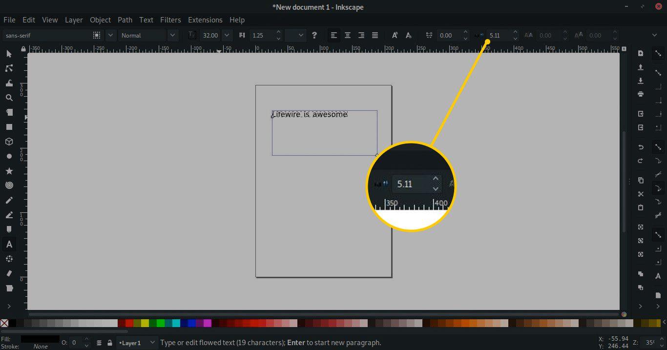 Space between words tool in Inkscape
