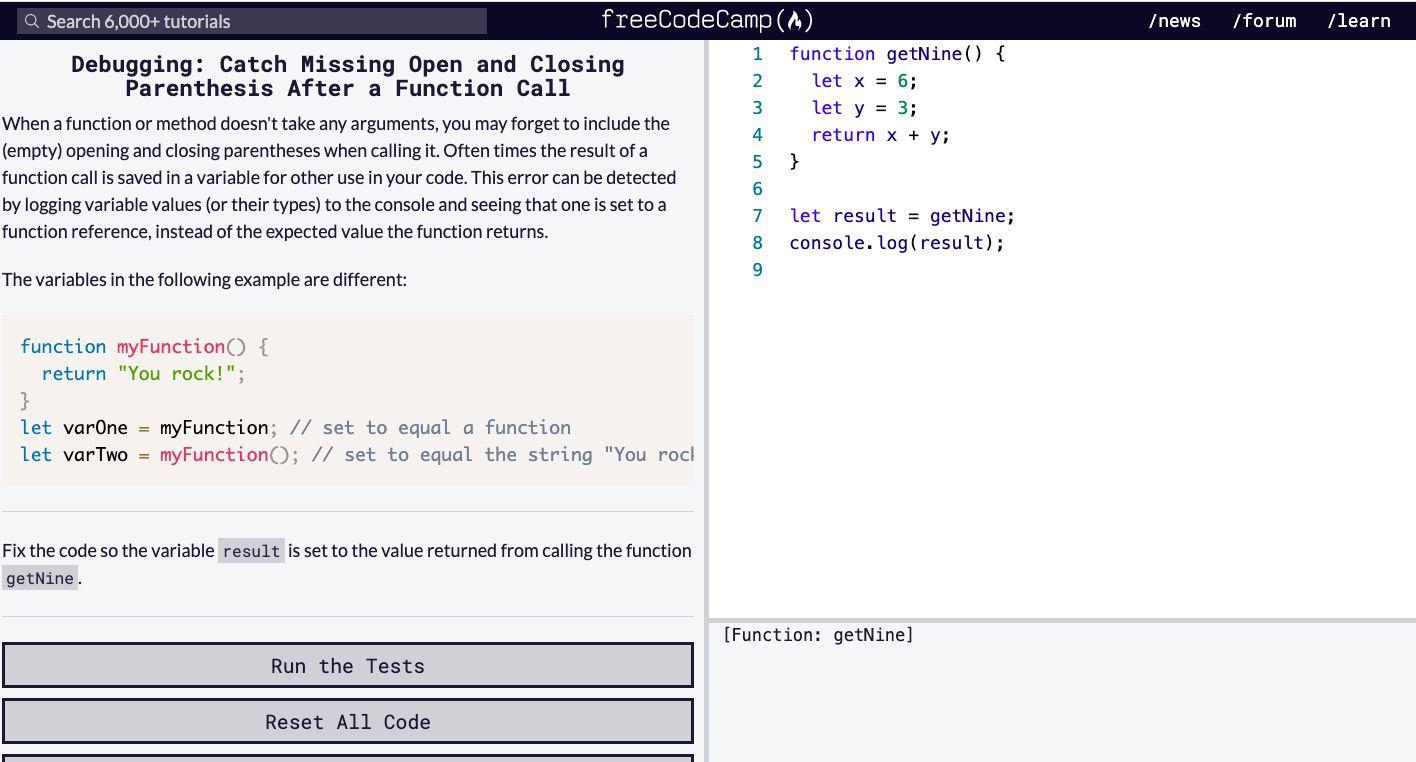 Free Code Camp's debugging tutorial online