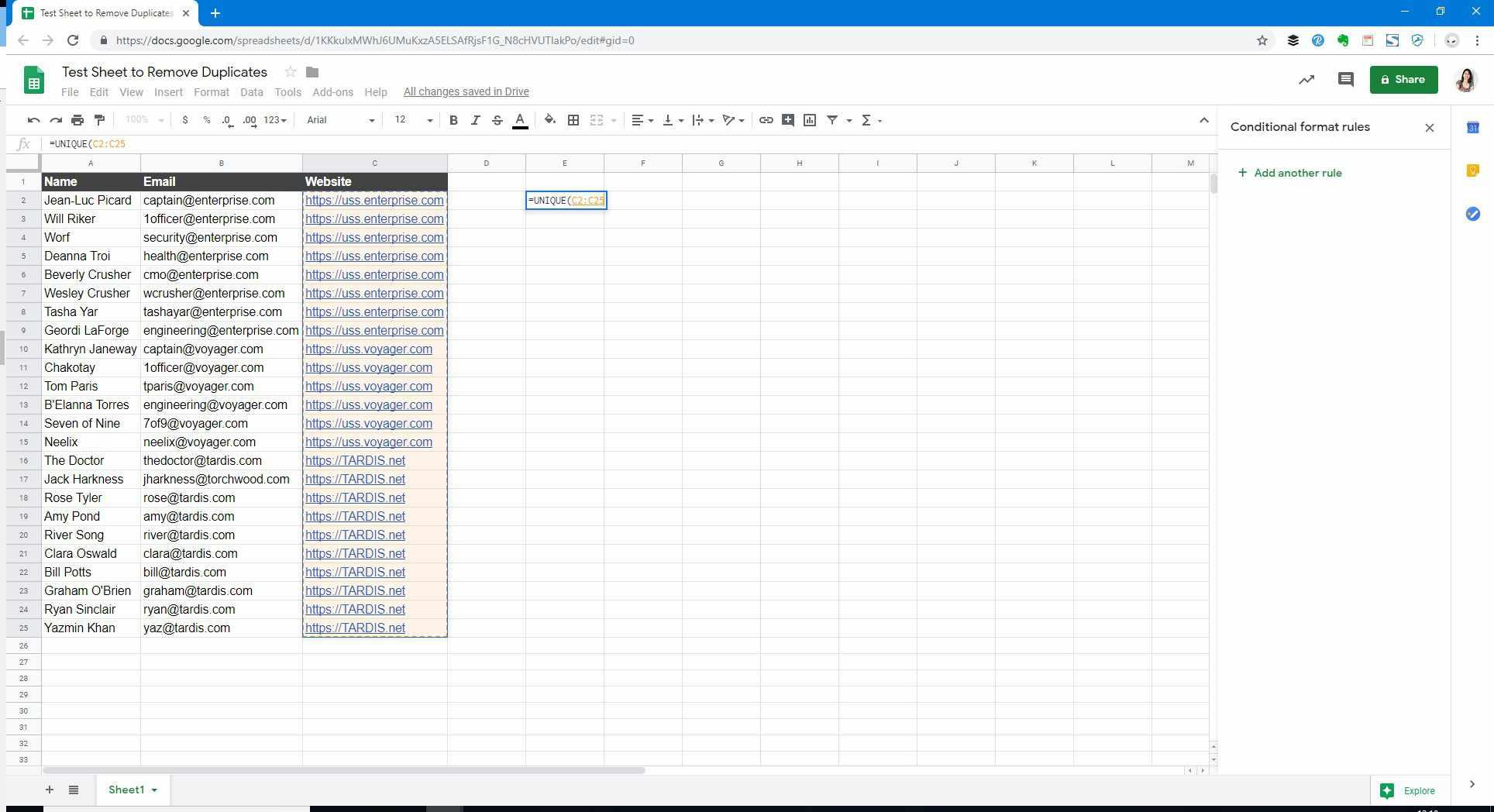 Enter Formula in Google Sheets