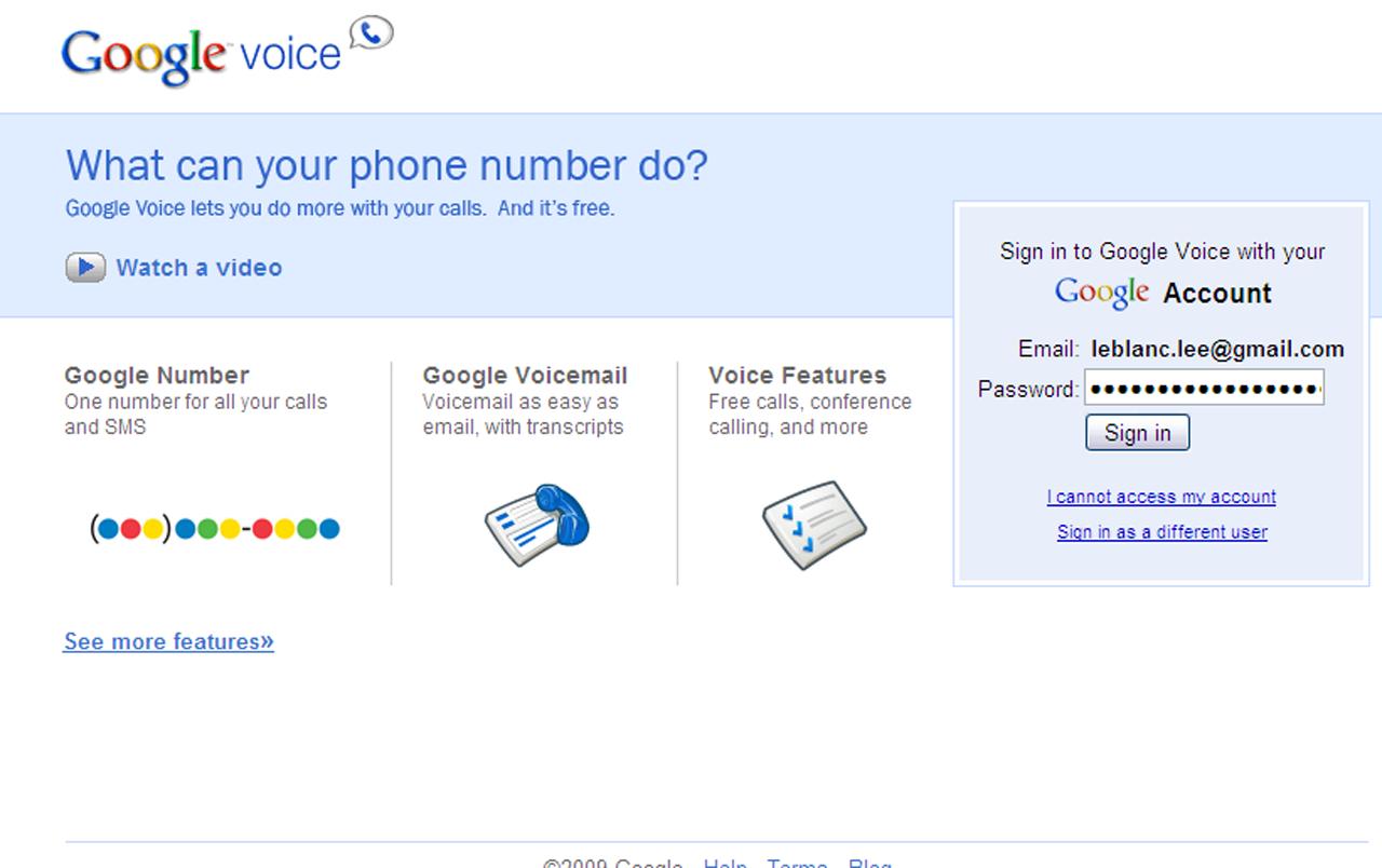 Screenshot of the Google Voice website.