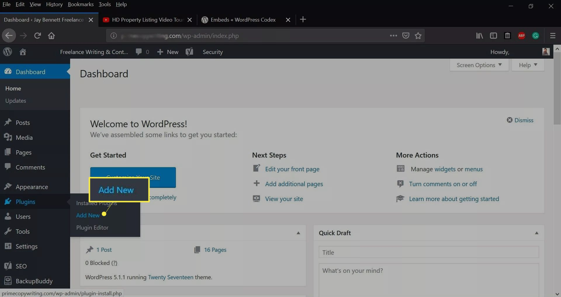 Add New on the WordPress dashboard