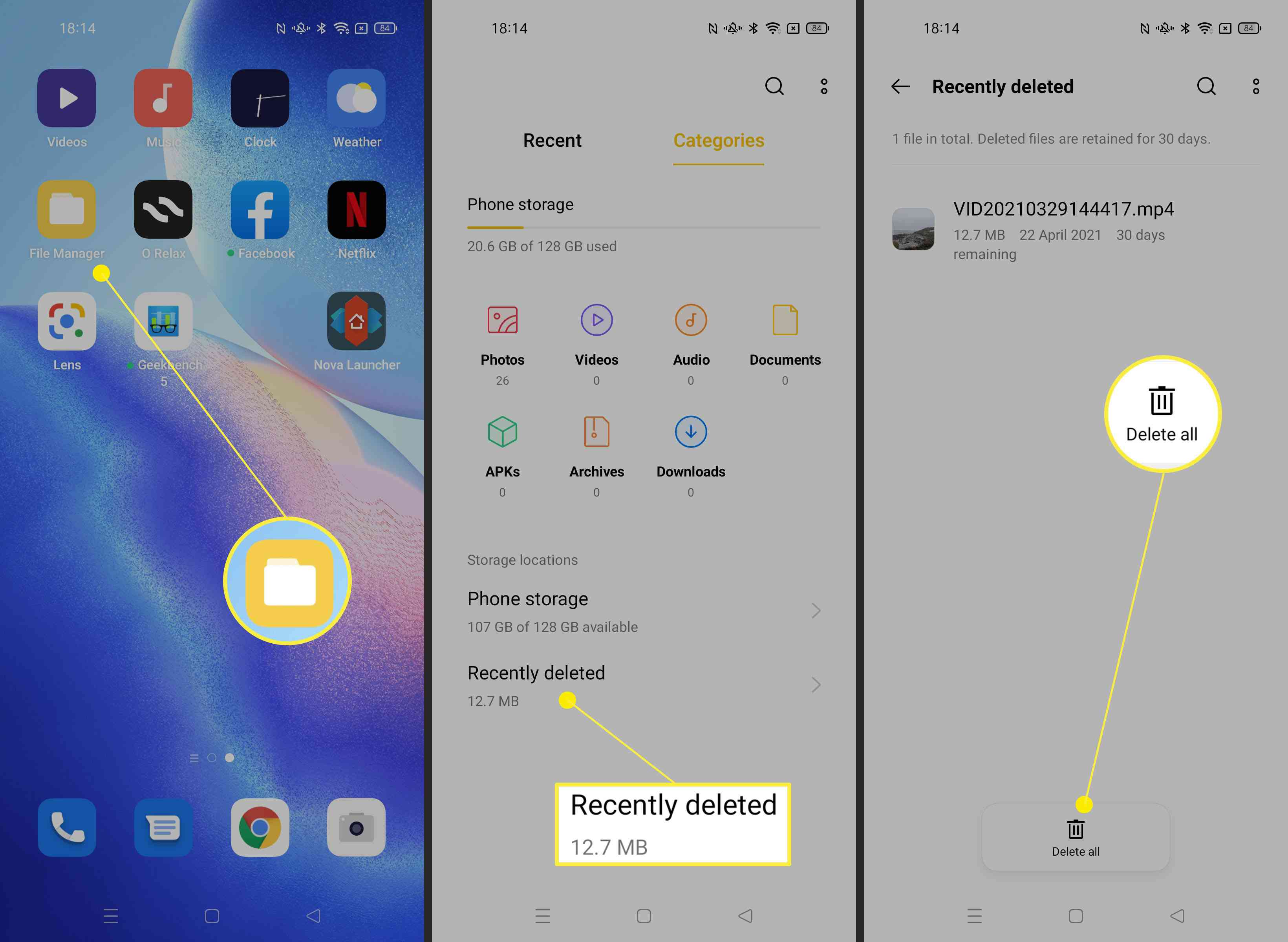 Steps required to delete all photos or files within File Manager on Android