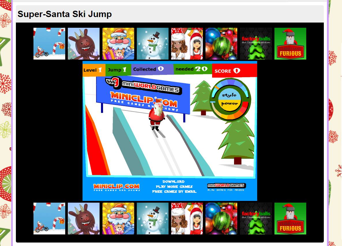A screenshot of the game Santa Ski Jump