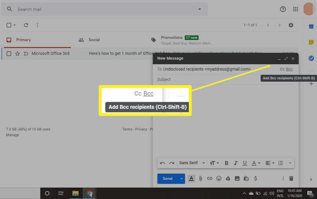 Add Bcc recipients in Gmail